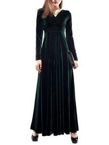 Damen langes goldenes Samtkleid mit V-Ausschnitt  Abendkleid,Farbe: Dunkelgrün,Größe:L