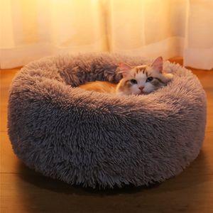 Plüsch weiches rundes warmes Haustierbett wärmender Schlafsack Katze Hund S Grau wie beschrieben