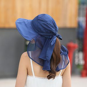 Sonnenhut mit Gesichts-Nackenschutz für Frauen Wide Brim Sommer Schirmmuetzen -(Blau,)