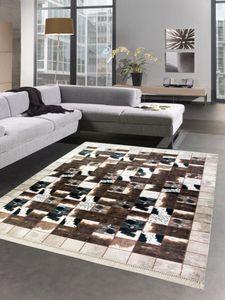 Kuhfell Optik Teppich Patchwork in Braun Schwarz Creme Größe - 120x160 cm