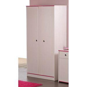 Kleiderschrank Smoozy 2-trg. weiß B 90 cm H 182 cm Kinder Jugendzimmer Drehtüren Holz Wäscheschrank