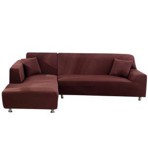 2pcs 2+3 Sitzer Sofabezug stretch elastische Sofahusse Abdeckung Für L Form Schnittsofa, braun