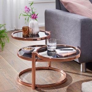WOHNLING Couchtisch SUSI mit 3 Tischplatten Schwarz / Kupfer 58 x 43 x 58 cm   Beistelltisch Rund   Design Wohnzimmertisch Glas / Metall   Designer Glastisch Sofatisch modern   Kleiner Loungetisch