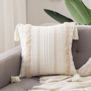 1 Stück Dekorative Kissenbezug Baumwolle Dekokissen Boho Super Weich Kissenbezüge Quaste Decor Kissenhülle für Sofa Couch Schlafzimmer Wohnzimmer  50x50cm