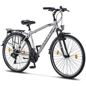 Licorne Bike Life M-V-ATB  Premium Trekking Bike in 28 Zoll - Fahrrad für Herren, Jungen, Damen und Herren - Shimano 21 Gang-Schaltung - Herren Citybike - Männerfahrrad, Farbe: Grau/Schwarz, Zoll:28.00