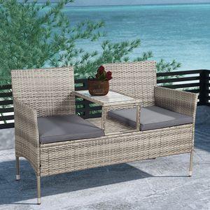 Juskys Polyrattan Gartenbank Monaco grau-meliert - 2-Sitzer Bank mit integriertem Tisch & Kissen in Grau - 133 × 63 × 84 cm - Sitzbank wetterfest