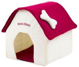 Hundehaus Hundehütte aus Stoff Sweet Home - 40 x 40 x 45 cm - weiss-rot