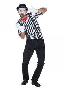 Gestreiftes Pantomimen-Shirt für Herren schwarz-weiß