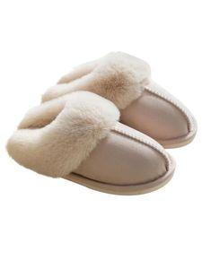 Damen Und Herren Wildleder Hausschuhe Wärmer Slipper Home Slipper,Farbe: Cremeweiß,Größe:38-39