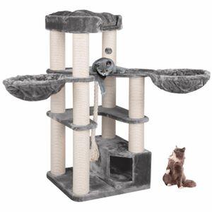 happypet® Kratzbaum XL stabil   161 cm hoch   für große Katzen   47 kg    12 cm dicke Sisalstämme   Höhle, Liegemulde, Spiel-Tau   Main Coon   GRAU