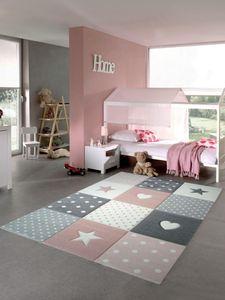 Kinderteppich Spielteppich Babyteppich Mädchen mit Herz Stern rosa creme grau Größe - 160x230 cm