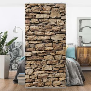Raumteiler - Amerikanische Steinwand 250x120cm, Aufhängung:inkl. transparenter Halterung