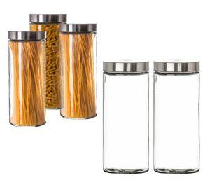 Vorratsgläser 2x 2,2 Liter Set Glas Schraubglas Lebensmittelglas Edelstahldeckel Schraubverschluss