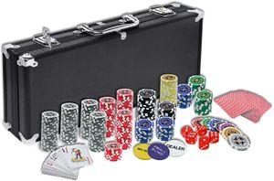 LZQ Pokerkoffer Pokerset mit 500 Laser Pokerchips Pokerkarten Zubehör inkl. 2X Pokerdecks, Alu Pokerkoffer, 5X Würfel, 3X Dealer Button, Poker, Pokerchips, Koffer, Jetons