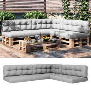 Vicco Palettenkissen Sitzkissen + Rückenkissen + Seitenkissen 15cm hoch Palettenmöbel (7er Set, Grau)