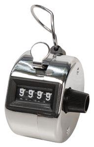 Mechanischer Handzähler McPower, Metallgehäuse mit Ring für Fingerhalt, 0-9999
