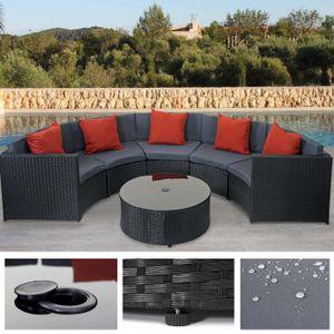 Poly-Rattan Garnitur rund HWC-E17, Garten-Set Sitzgruppe  schwarz, Polster dunkelgrau, Kissen terrakotta