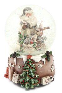 Schneekugel mit Spieluhr zum Aufziehen grau-weiß, Schnee&Glitzer Ø100mm H.: 15cm (0950230)