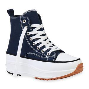 Giralin Damen Sneaker Schnürer Keilabsatz Plateau Stoff-Schuhe 836273, Farbe: Dunkelblau, Größe: 40