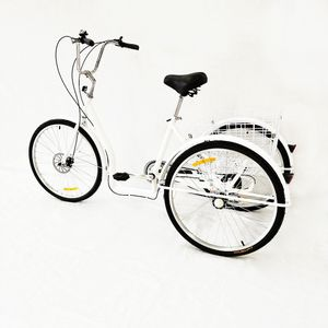 26'' Weiß Dreirad Erwachsene Fahrrad 3 Rad Tricycle Fahrrad Senioren Erwachsenendreirad Cruise Bike 6-Gang Korb
