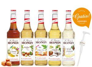 Monin-Set 5+5 - 5x Kaffeesirup (Vanille, Haselnuss, Karamell, Praliné-Nuss, Weiße Schokolade) + 5x Siruppumpe