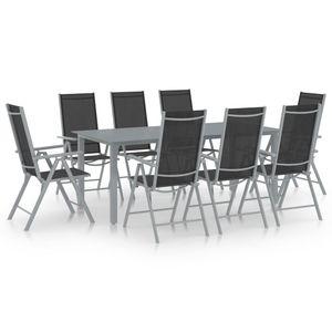 NEU Sitzgruppe 9-teilige Garten Möbel Set mit Tisch & 8 Stühle - Essgruppe für 8 Personen,, Aluminium Silbern und Schwarz|6115
