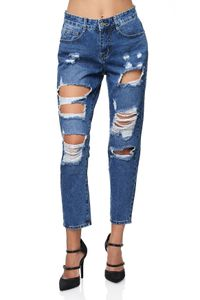 Damen Mom Jeans High-Waist Boyfriend Hose Five Pocket Design Risse Destroyed, Farben:Blau, Größe:40
