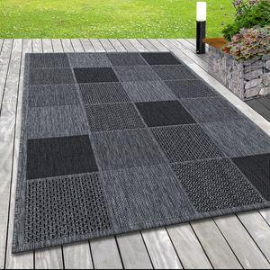 In- & Outdoor Flachgewebe Teppich Webmuster Sisal Optik Karo Design in Grau, Grösse:200x290 cm, Farbe:Silber