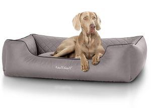 Knuffelwuff Hundebett Milan aus laser-gestepptem Kunstleder XL 105 x 75cm Grau