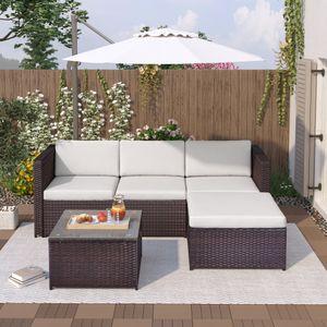 Merax Polyrattan Lounge Gartenmöbel 5-tlg.Lounge Set, Sitzgruppe mit Sofa, Tisch & Hocker, Gartenlounge Set  für 3-4 Personen mit Auflagen Poly Rattan, Braun