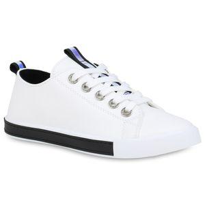 Mytrendshoe Damen Sneaker Low Metallic Freizeitschuhe Strass Turnschuhe Bequem 833673, Farbe: Weiß Schwarz, Größe: 40