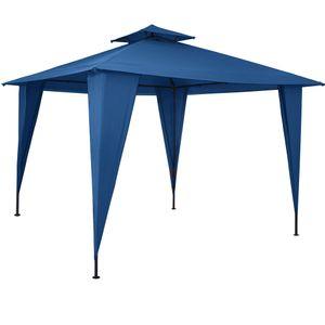 Pavillon 3,5x3,5m Gartenzelt wasserdicht Partyzelt mit Dachhaube UV-Schutz 50+ Festzelt Sairee Garten Terrasse versch. Farben, Farbe:blau