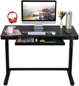 Elektrisch Höhenverstellbarer Schreibtisch mit Touch Funktion und USB, Elektrischer Schreibtisch (Schwarz)