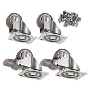 4 Klein Rollen für Möbel + Schrauben 25mm 40KG Transportrollen Set | Lenkrollen mit bremse | Schwerlastrollen rollen für Palettenmöbel | Möbelrollen