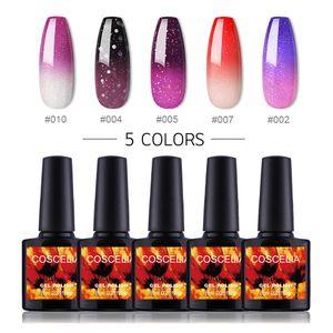 COSCELIA 5 Farben Thermo Nagellack Gellack UV Farben Thermolack Gelnägel Farblacken LED Lacken