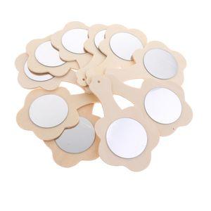 10 stücke blume form unfinished holz handspiegel für kinder diy handwerk