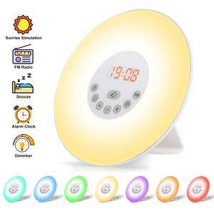 iLiebe LED Wake Up Licht Lichtwecker - Sonnenaufgang Sonnenuntergang Simulation Wecker Schlummerfunktion, 6 natürlichen Klängen, UKW-Radio USB wecker