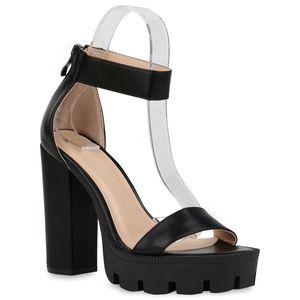 Mytrendshoe Damen Plateau Sandaletten Blockabsatz Party Schuhe High Heels 832652, Farbe: Schwarz, Größe: 39