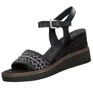 Tamaris Damen Keil Sandaletten Schwarz, Schuhgröße:EUR 41