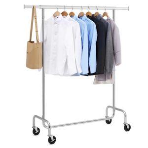SONGMICS Garderobenständer Metall bis 130 kg   (110-150) x 160 x 45 cm Schwerlast Kleiderständer Garderobe verchromt HSR11S