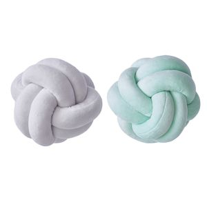 Set mit 2 runden Knotenkissen Soft Throw Pillow Sofa für Schlafzimmer Weiß