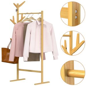 Casaria Kleiderständer Garderobenständer Bambus 8 Haken 1 Kleiderstange 164x66x40cm Flur Schlafzimmer Massiv Holz Natur