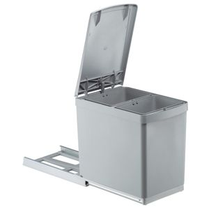 WESCO Einbau-Abfallsammler Traditionline 30DT - Alugrau/ Silber, 2x 7,5 Liter