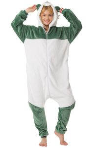 Corimori 1852 Lee der Panda Damen Herren Onesie Jumpsuit Anzug Einteiler Kostüm Verkleidung Gr. 170 - 180cm, Grün Weiß