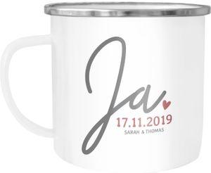 """Emaille-Tasse """"Ja"""" mit Namen Datum personalisierte Hochzeitsgeschenke Emaille-Becher SpecialMe® weiß-metall Emailletasse"""