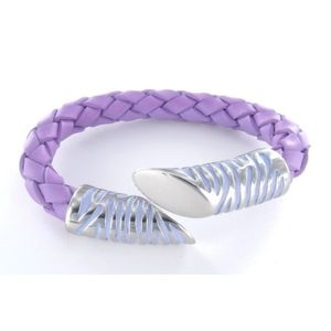 Armreif - Leder Edelstahl - silber - violett