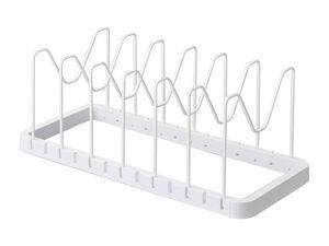 Yamazaki Home Kochtopf Deckelhalter Organizer Aufbewahrung für Topf und Deckel verstellbar weiß 03840