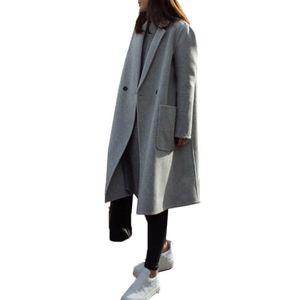 Damen Woll-Mantel Light Coat Trenchcoat Frauen Mantel Outwear Größe: XL, Farbe: Grau