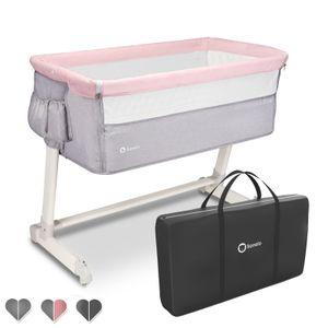 Lionelo Theo 2in1 Reisebett Beistellbett Kinderbett ab Geburt bis 9 kg  Rosa