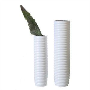 Casablanca - Vase - aus Keramik matt weiß mit Rillenstruktur H 78 cm